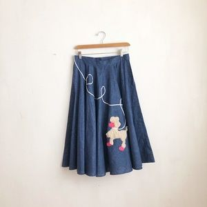 Vintage skirt circle skirt poodle dog print  S
